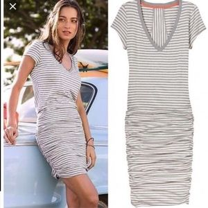 Athleta Striped Knit Ruched Dress.